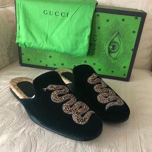 Gucci Lawrance Snake Velvet Green Mules